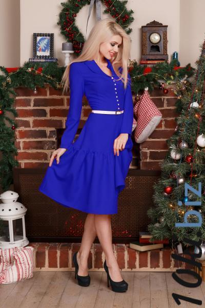 Платье с воротником шалька (ярко-синий) Платья с рукавами, теплые платья оптом на рынке Садовод