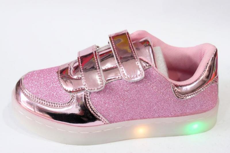 Детские кроссовки для девочки Bona, розовый, с подсветкой, р. 32