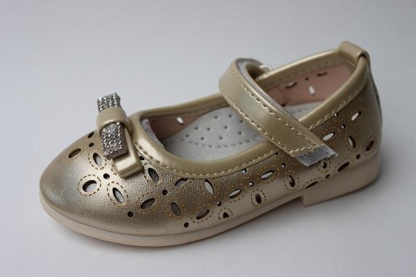 Детские туфли для девочки Ytop, золотистый, р. 21-25
