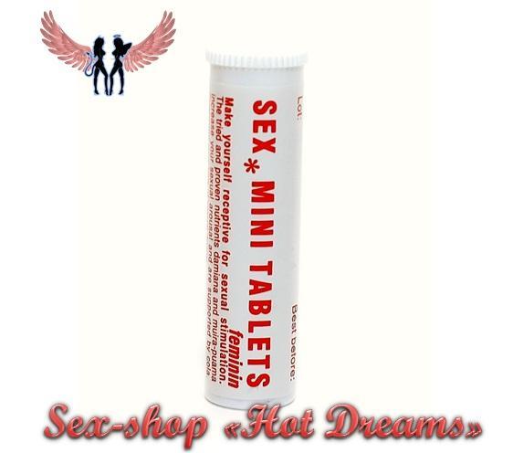 Фото Возбуждающие препараты для женщин (афродизиаки, капли, порошки, жвачки, таблетки, капсулы, крема) Sex MiniTablitten для усиления сексуального удовольствия (6 шт)