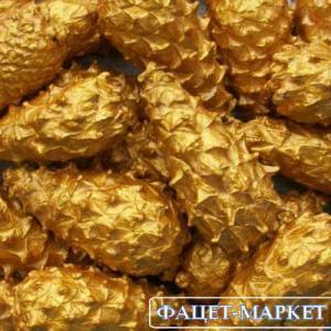 Фото Натуральные материалы - Эко, Шишки для декора Шишка закрытая золотая сосновая