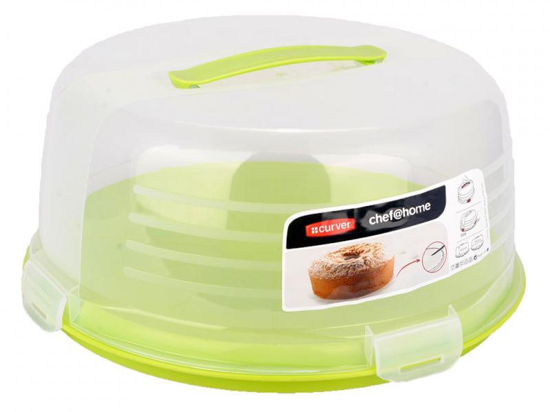 Тортовница пластмассовая круглая с ручкой