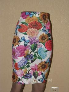 Фото Юбки Карандаш с цветочным принтом