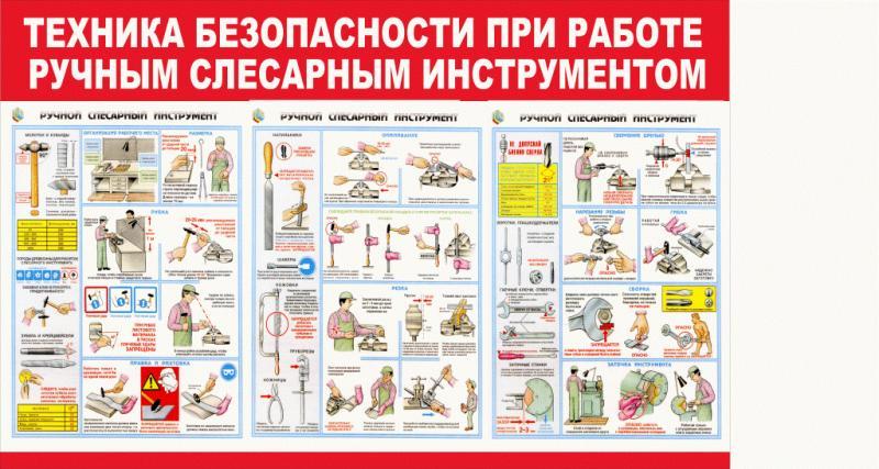 Стенд по ТБ тематический 9  Ручной слесарный инструмент