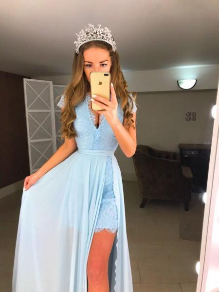 Мереживне плаття міні з шифоновою спідницею максі