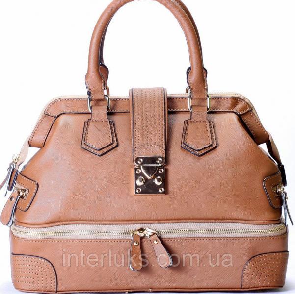 Сумка-саквояж Leather 10180 бежевая распродажа