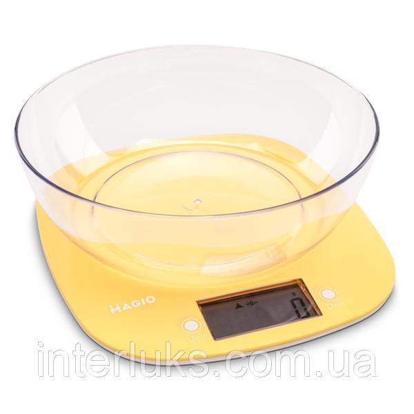 Весы кухонные MAGIO MG-290 5 кг, электронные, пластиковые, ЖК-дисплей, желтые. MAGIO MG-290ЖЕЛТЫЕ