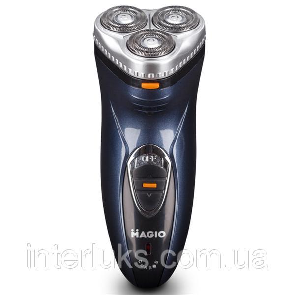 Электробритва MAGIO MG-680, 3 плав. головки, АС/DC, очищение водой.