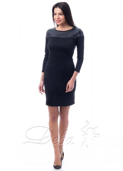 Платье из франц. трикотажа с кожей №208