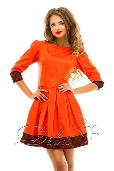 Платье из мемори коттона с кружевом №204