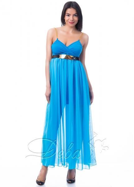 Платье в пол с лямками из цепочки №182