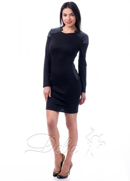 Платье трикотажное с вставками кожи №128