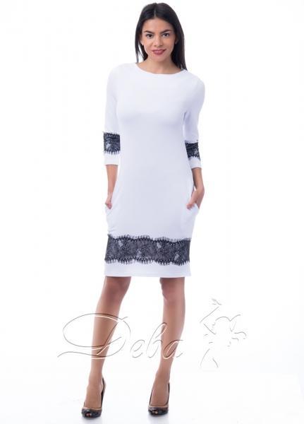 Платье из дайвинга с кружевом №125