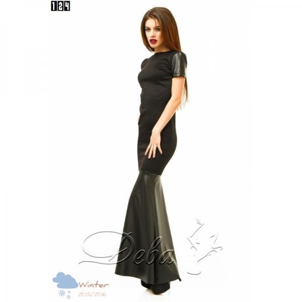 Платье в пол из дайвинга и эко кожи №124