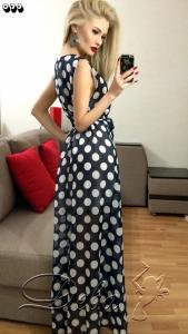 Фото Платья Шифоновое платье в пол в горох №073