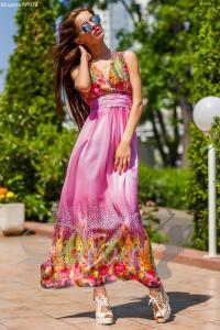 Фото Платья Шифоновое платье в пол с перьями №072