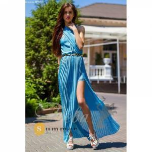 Фото Платья Голубое шифоновое платье в пол №065
