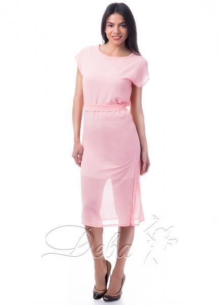 Платье персиковое из креп - шифона №064