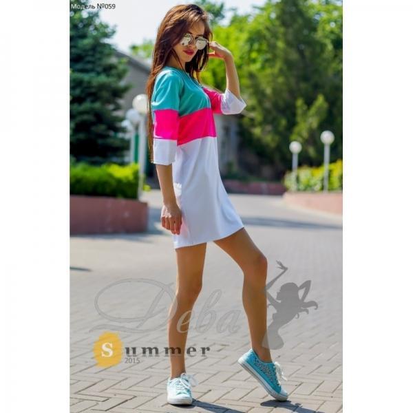 Платье 3х цветное из дайвинга №059