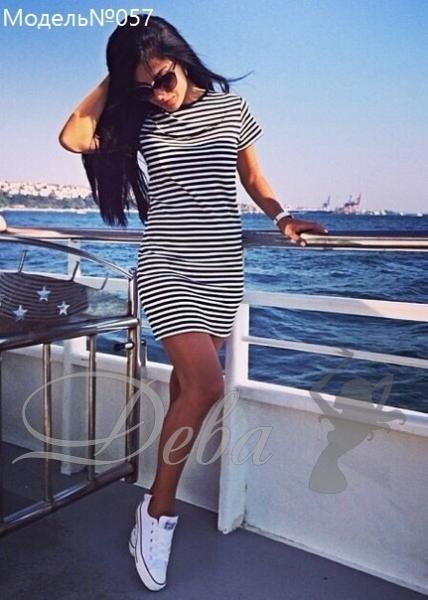 Платье в полоску из вискозы №057