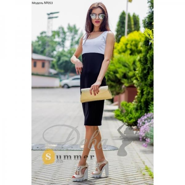 Платье белый верх черный низ №053