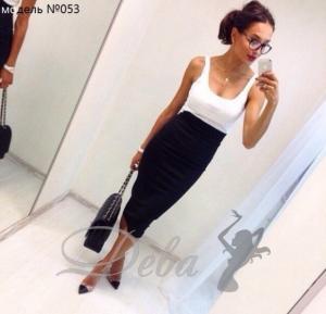 Фото Платья Платье белый верх черный низ №053