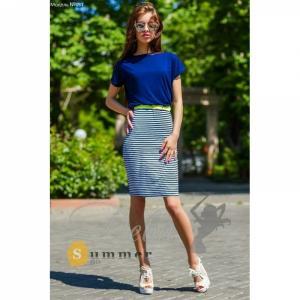 Фото Платья Платье верх т. синий юбка полоска №051