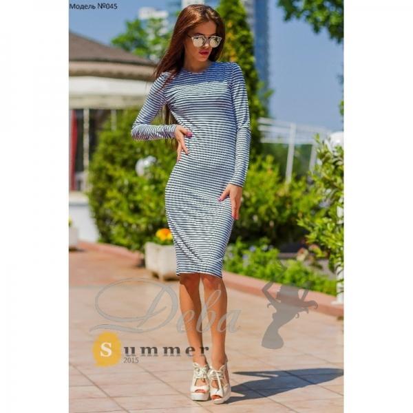 Платье полосатое рукав 3 четверти №045