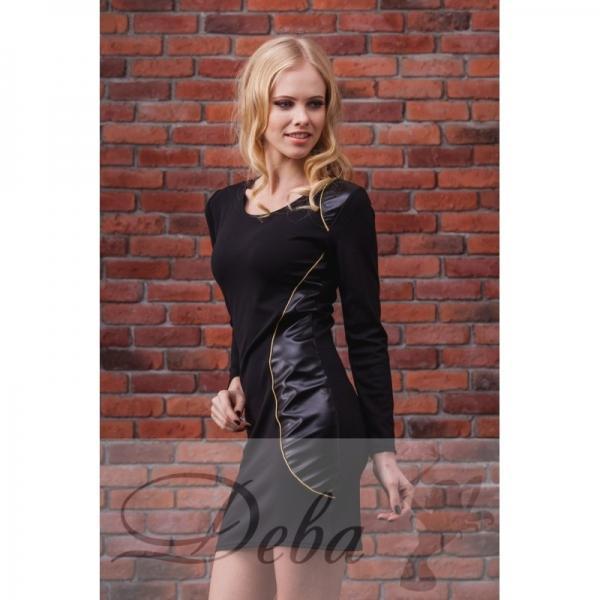 Платье с вставкой эко кожи №007