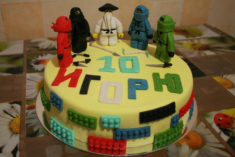 Торт LEGO Ninjago (ЛЕГО Ниндзяго) 1 ярус