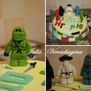 Фото Торты, Детские торты Торт LEGO Ninjago (ЛЕГО Ниндзяго) 1 ярус