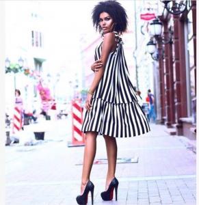 Фото Хіти продаж Плаття смуга міні
