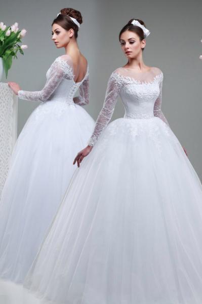 Пышное свадебное платье с длинными рукавами Джессика