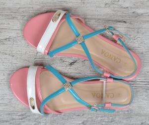 Фото  Босоножки женские Marmalade розовый голубой белый на плоском ходу