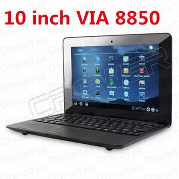 Новый 10-дюймовый VIA8850 1.25GHz 1G / 4GB Andriod 4.0 Wi-Fi портативный ноутбук Нетбук + Веб-камера