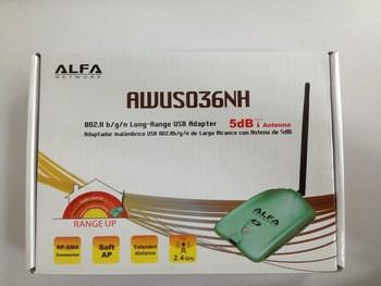 Высокая мощность 2000MW Wi-Fi Альфа AWUS036NH беспроводнй USB адаптер 5dbi чипсет Ralink3070 с высоким коэффиц