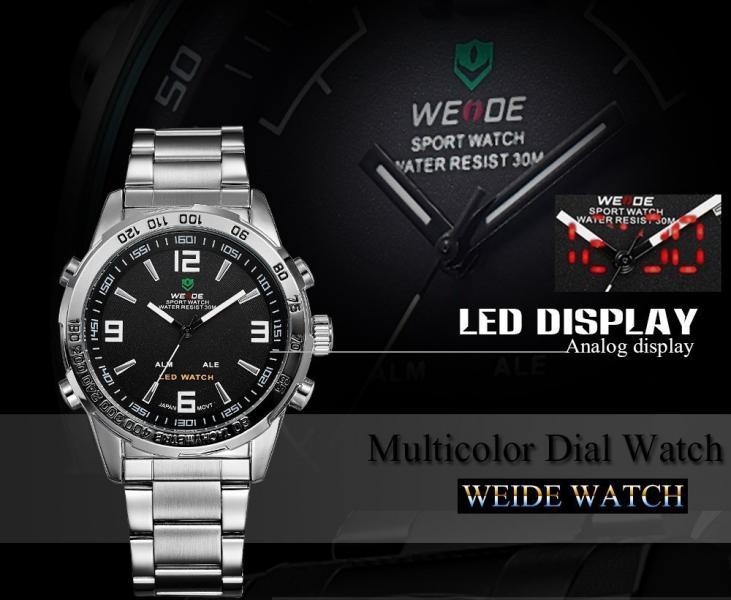 Часы мужcкие люксовый бренд  из светодиодов  кварцевые  нержавеющей стали
