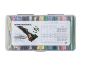 Фото Оплітка, хомути, інструмент Термозбіжна трубка набір (shrink tube) 196 шт 7 кольорів