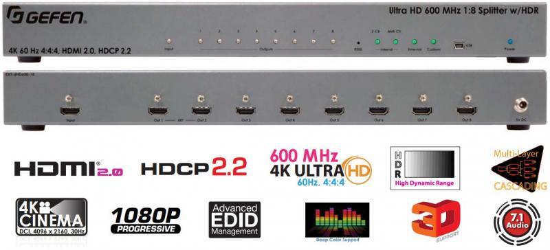 Gefen EXT-UHD600-18 Підсилювач розподільник 1х8 сигналів HDMI з HDR з пропускною здатністю 600 МГц