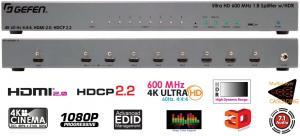 Фото Спліттери Gefen EXT-UHD600-18 Підсилювач розподільник 1х8 сигналів HDMI з HDR з пропускною здатністю 600 МГц