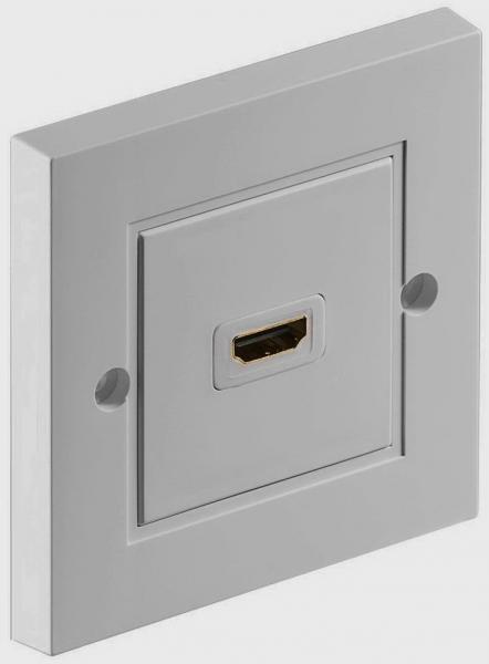 Розетка HDMI F/F, біла, прохідний роз'єм гніздо-гніздо, 86x86 мм