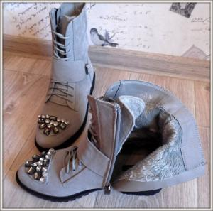 Фото БОТИНКИ, БОТИЛЬОНЫ Ботинки зимние серые на шнуровке