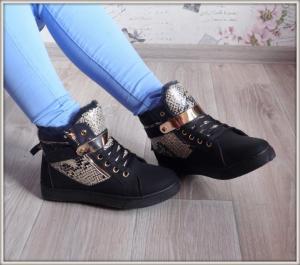 Фото БОТИНКИ, БОТИЛЬОНЫ Ботинки черные спортивные зимние