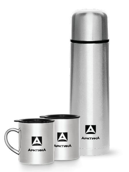 """Подарочный набор """"Арктика"""" - термос 1 л, 2 термокружки по 300 мл."""