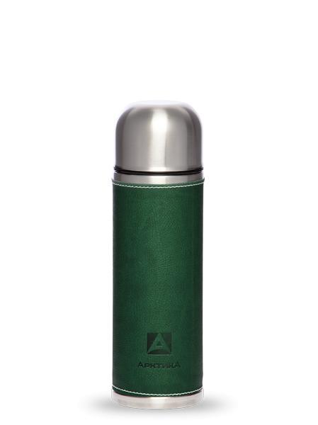 "Термос с узким горлом из ""кожи канадского бизона, зеленый, ""Арктика"", 500/700/1000 мл"