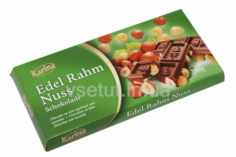 Шоколад молочный Edel Rahm Nuss с цельными лесными орехами 200 г