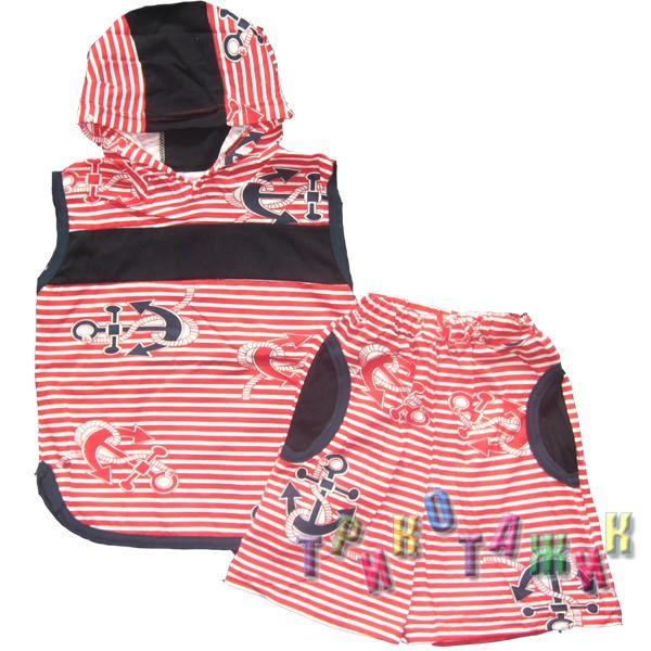 К-т для мальчиков безрукавка с капюшоном + шорты кулир цветной