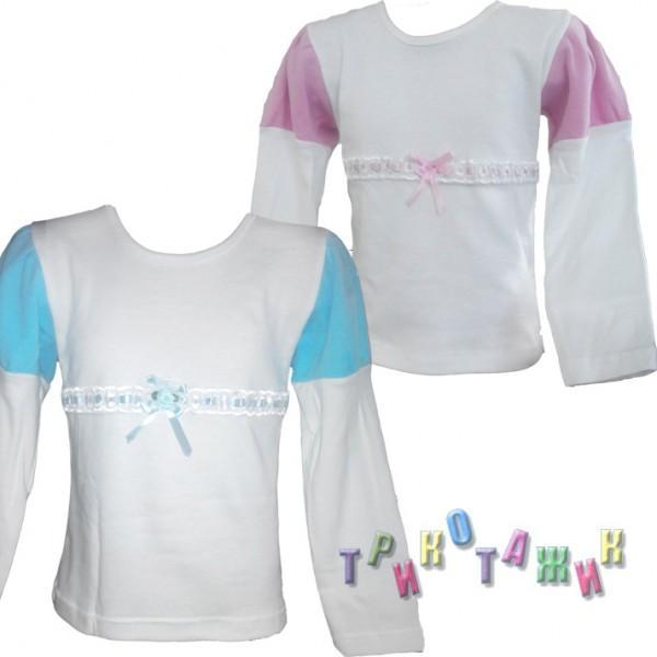 """Блузка для девочки """"Школьная"""" интерлок белый"""