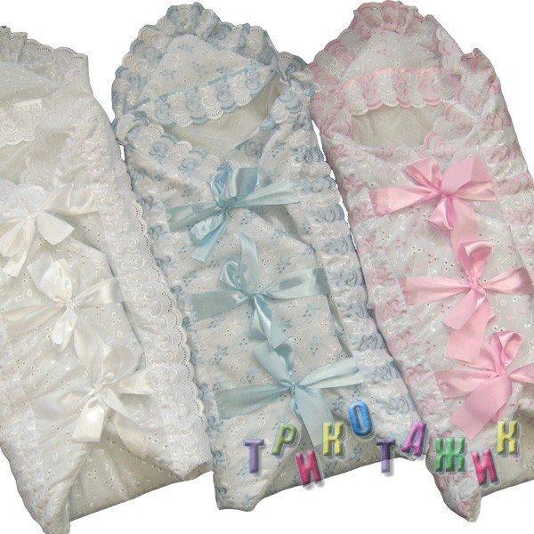 Конверт для новорожденного с бантиками
