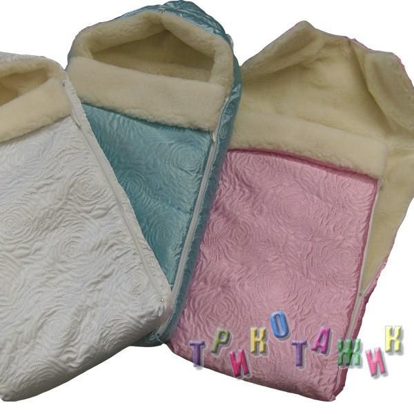 Зимний конверт для новорожденного с мехом